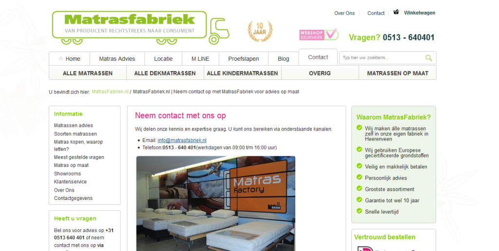 matrassen van matrasfabriek.nl